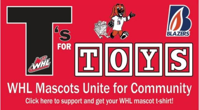 WHL Mascots Unite for Charity – T's for Toys