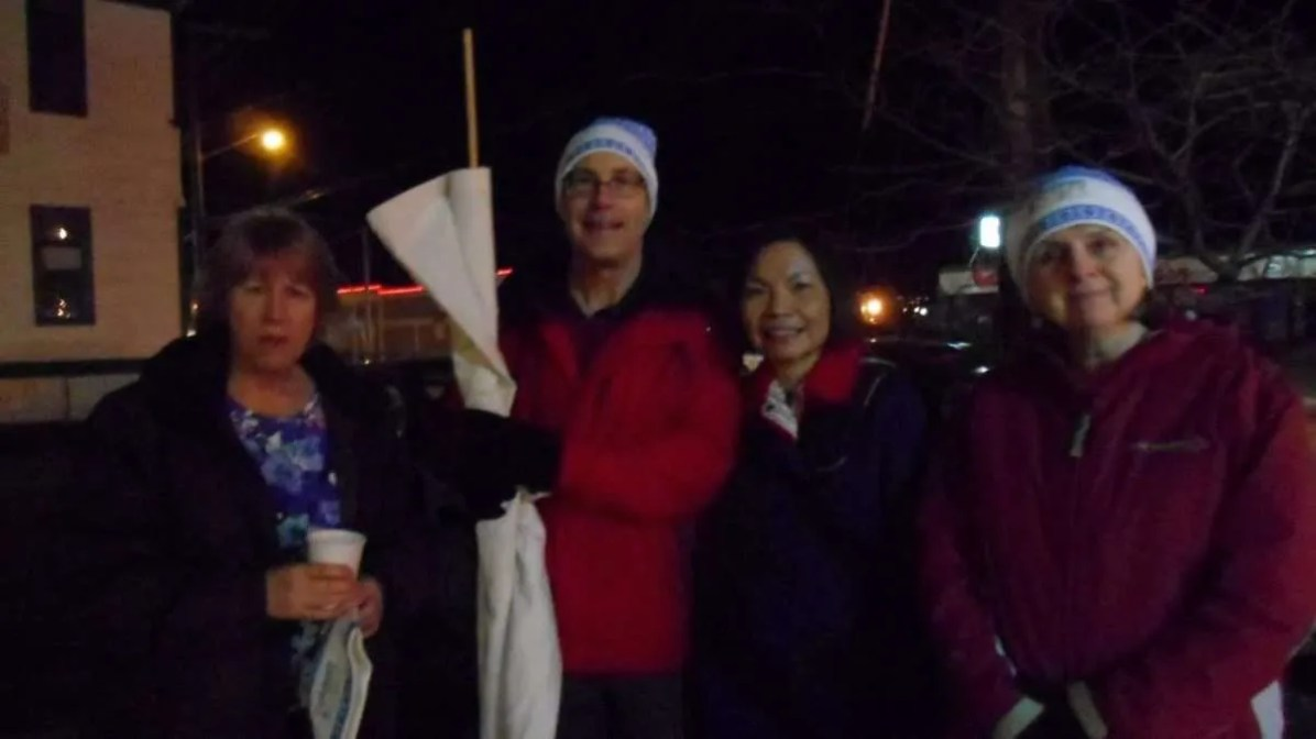 Walk completed, night falling – June, Ken, Rose and Vicky.