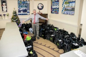 Rick with the gift bags ready.