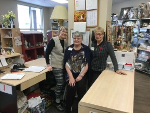 Wendy, Fliss and Dawn in the Thrift Shop! Thank you for opening today!