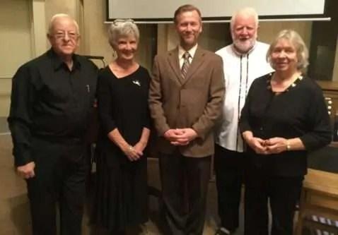 "Organist Gordon Britton, organist Margaret Waldon, ""The Organ Guy"" Brian Thompson, organist Dean Ken Gray and organist Gail Ovington."
