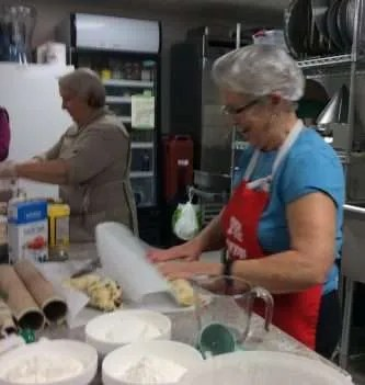 Margaret and Donna are making Tutti Frutti cookies.