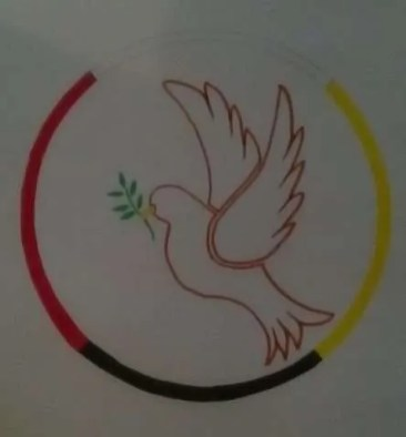 Peace Dove in Medicine Wheel with 4 colours/directions.