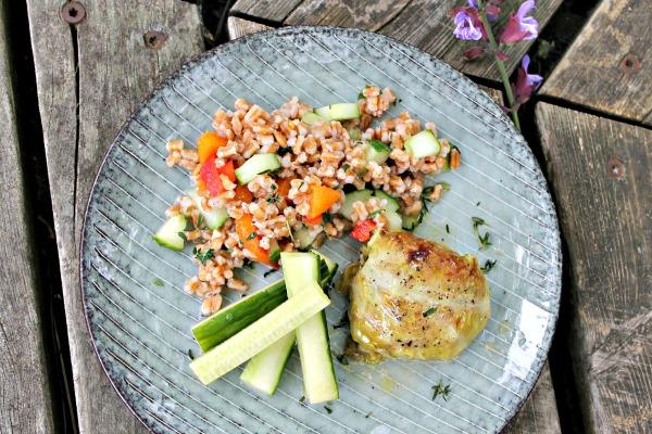 Kåldolmer med salat af spelt med friske abrikoser