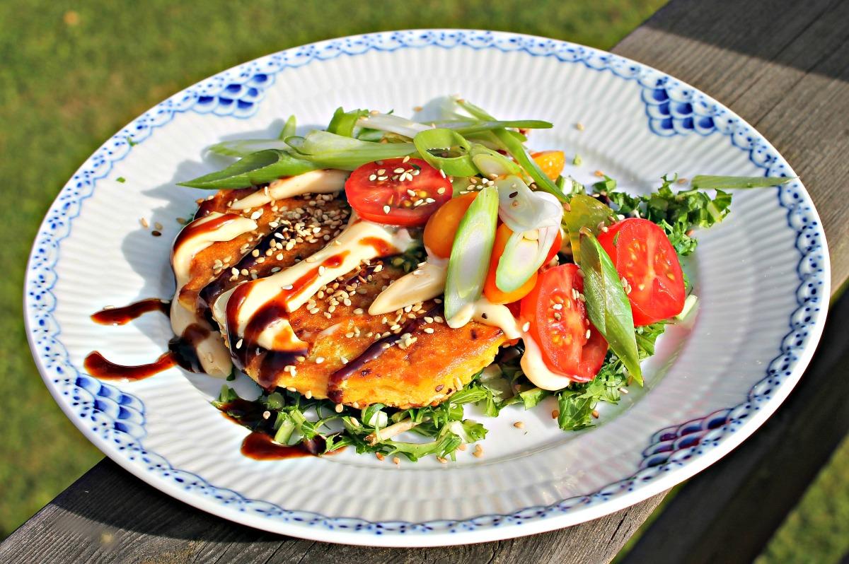 Veganske madpandekager med chilimayonnaise
