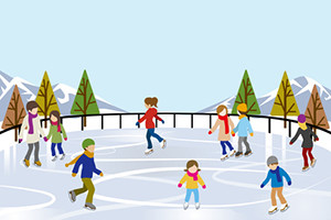 People Ice Skating in nature Ice Rink