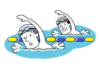 プールで泳ぐ2人のイラスト