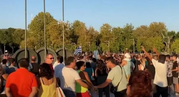 Διαμαρτυρία κατά της μάσκας στην Θεσσαλονίκη