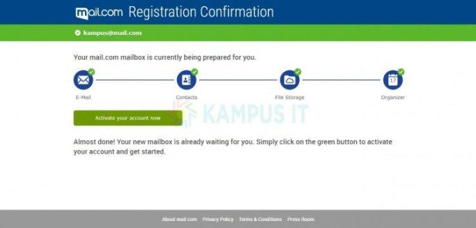 Mendaftar dan membuat email di Mail dot com