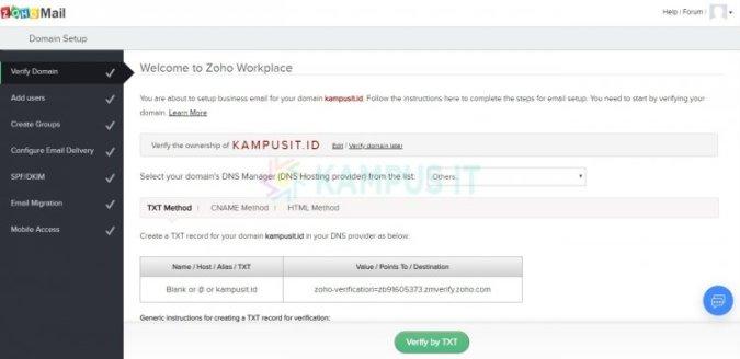 Cara membuat email pribadi dengan email hosting Zoho