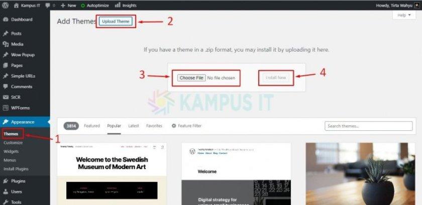Upload Tema WordPress via Upload Dashboard
