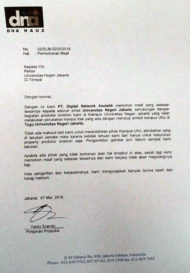 pernyataan maaf pt dna kepada unj
