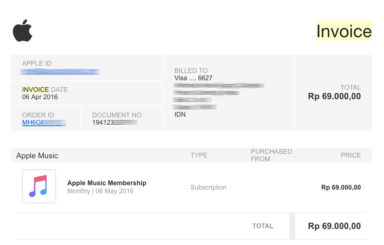 contoh invoice apple music