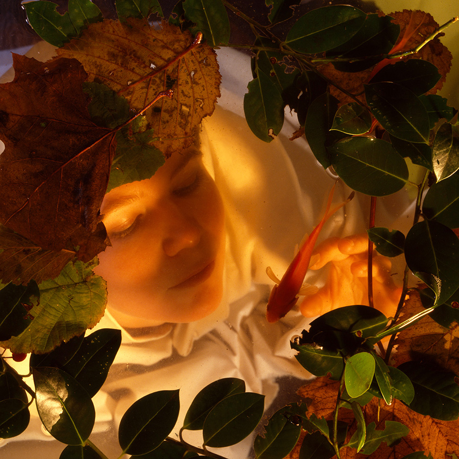 White woman, early 20s, cloaked in white, under water with leaves on top. Shot from above
