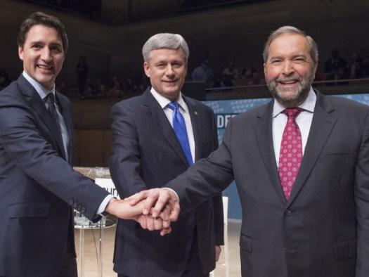 Justin Trudeau Stephen Harper Thomas Mulcair