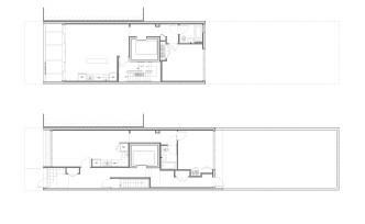 First floor plan (below), 2-3 typical floor plan (above)