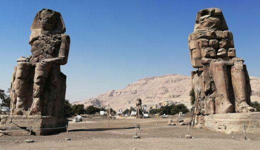 エジプト観光!ルクソール西岸のメムノンの巨像にフェリーから徒歩で行ってみた