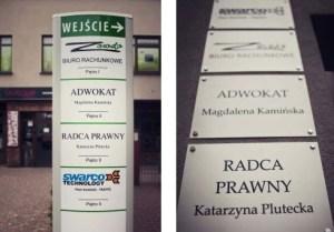 pylon i sciany z nazwa kancelarii Piotrowice