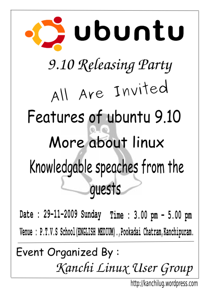 KLUG : Invitation for ubuntu 9.10 karmic koala release party (1/3)