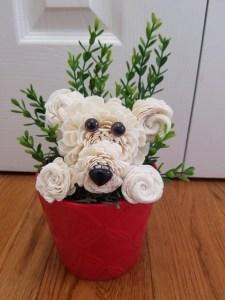 dog arrangement with sola wood flowers