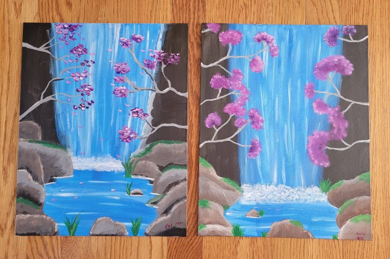 Read more about the article Painting Waterfalls And Cherry Blossoms, While Following A Tutorial By YAYMaker