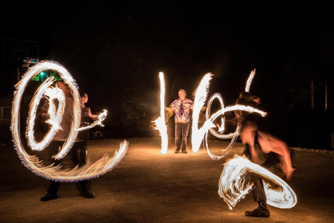 Camp Fircroft fire dancing