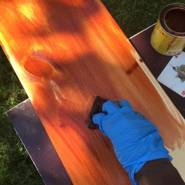 Staining the wood