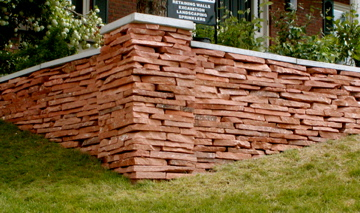 Stacked stone wall and corner