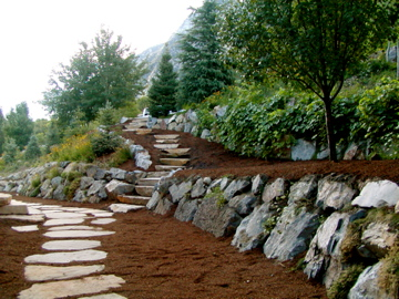 Garden paths, stairs and stone walls