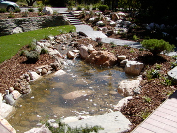 Pond, stream, bridge, waterfall, and walls