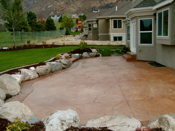 Stained patio and surround