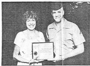 SunPress 1979, Jo presenting an award to a good samaritan Marine