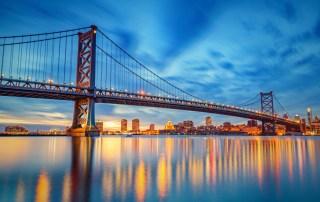 Philly skyline and Ben Franklin Bridge