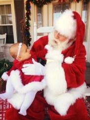 Chatting with Santa outdoors mid November.
