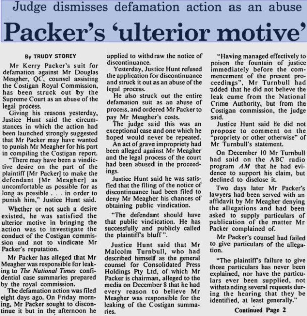 Malcolm Turnbull - Packer court case page 1