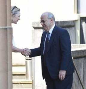 Crown prosecutor Margaret Cunneen shaking hands with corrupt former MP Eddie Obeid outside the NSW Supreme Court in Darlinghurst in February 2016 while Mr Obeid was on trial for corruption.