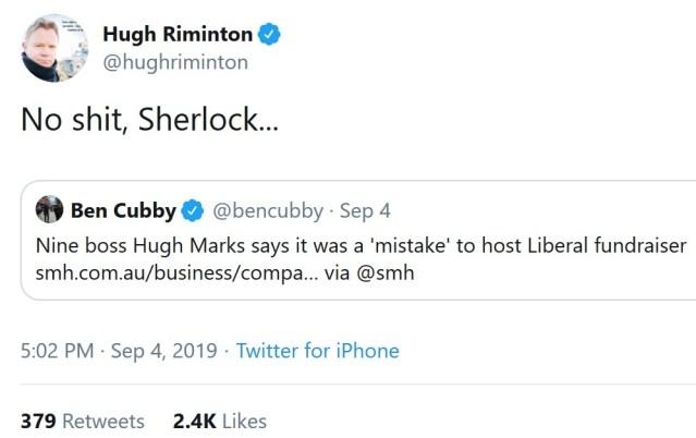 Hugh Riminton Twitter