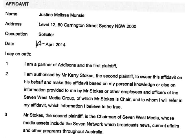 Munsie Affidavit page 1