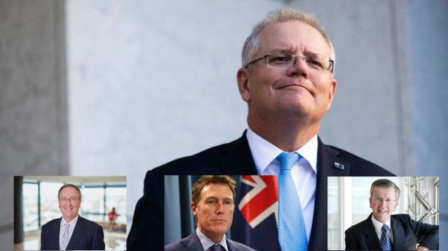 Scott Morrison with (From left to right) MinterEllison Chairman David O'Brien, Attorney-General Christian Porter and lawyer Peter Bartlett