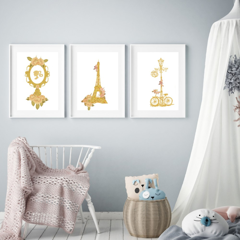 Paris Chic Girls Wall Art Set 015-016-017