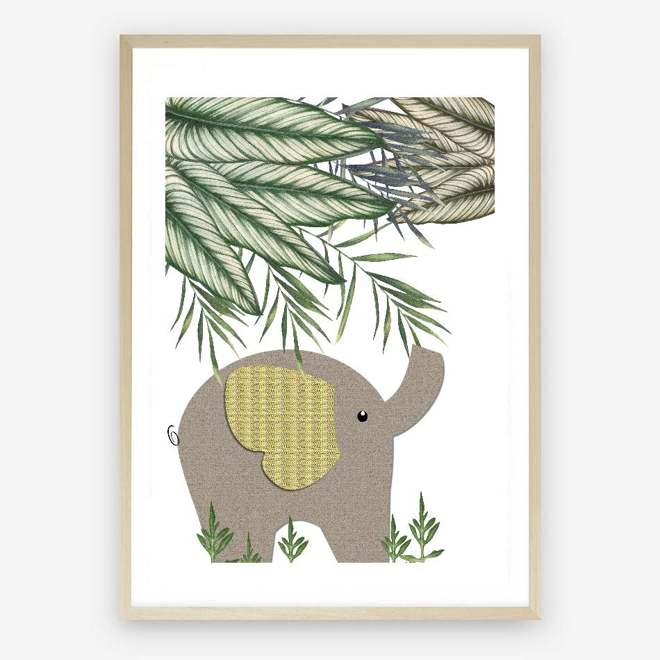 Jungle Elephant Digital Nursery Print