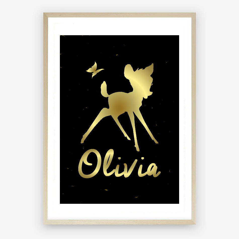 Personalised Bambi Nursery Print in Black & Gold