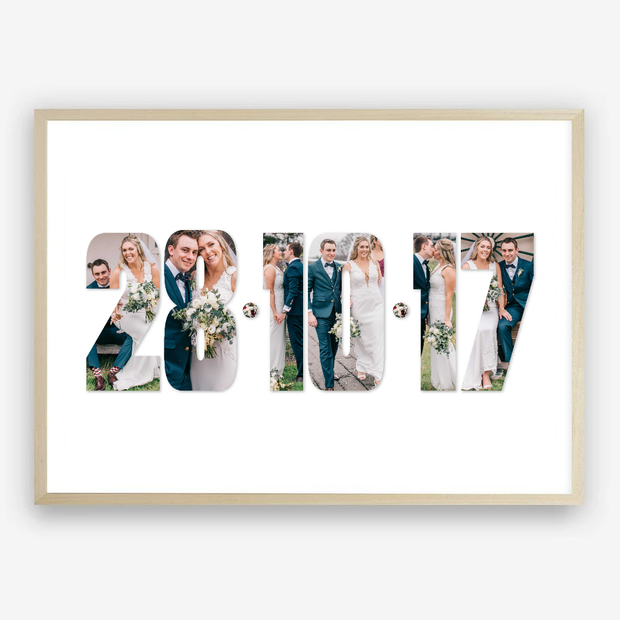 Wedding Date Photo Collage Art