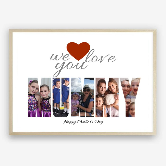 One of a Kind Personalised We Love You Mummy Photo Collage Print by Kangaroo Kids Designs