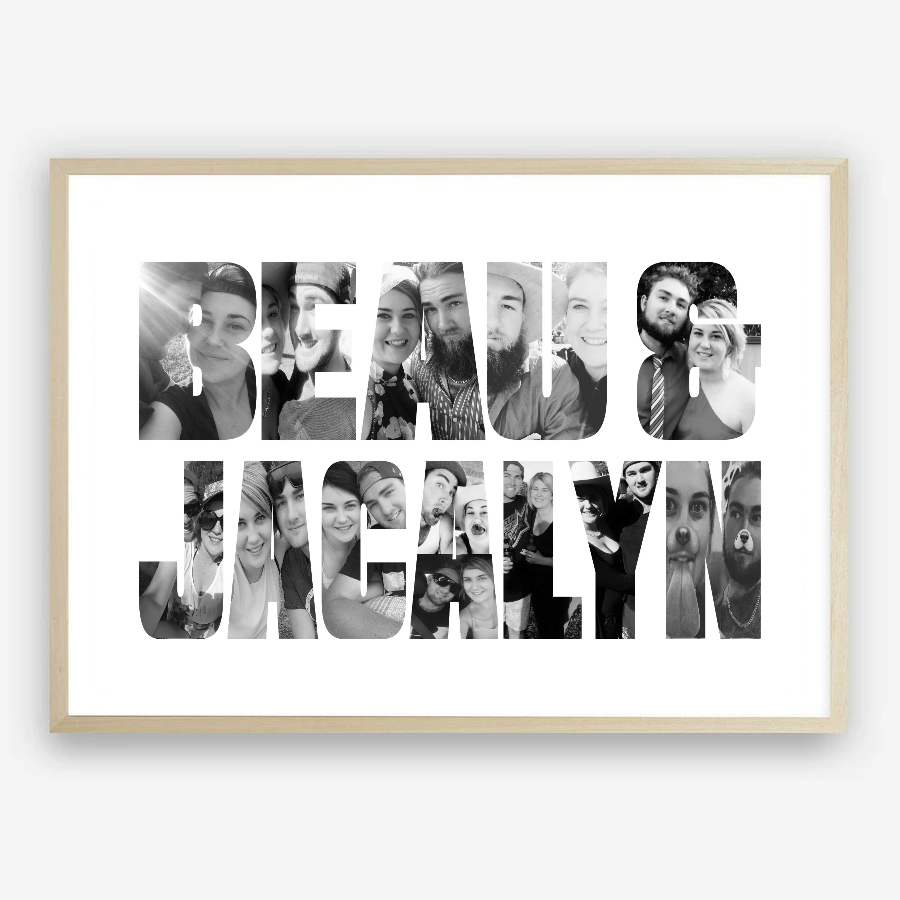 Personalised Dual Names Photo Collage Digital Print by Kangaroo Kids Designs