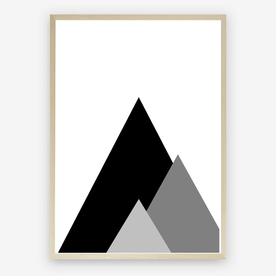 Abstract Mountains Monochrome Digital Nursery Print