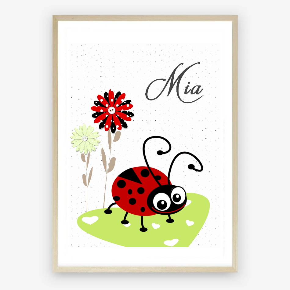 Ladybird Personalised Nursery Name Digital Print