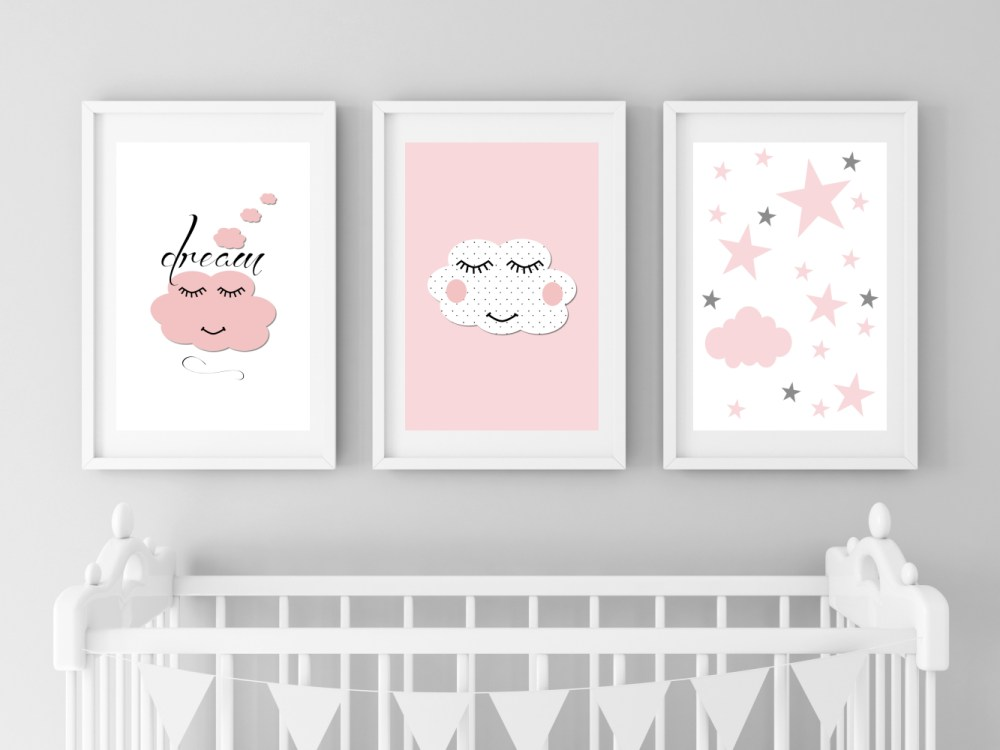 Dreamy Clouds Nursery Art for Baby Girl in Pink