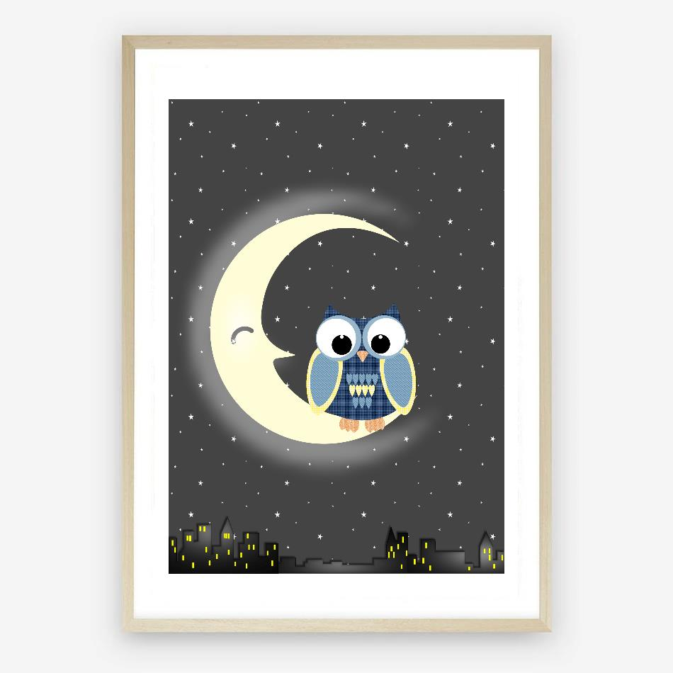 Nite Owl Digital Nursery Wall Art Print