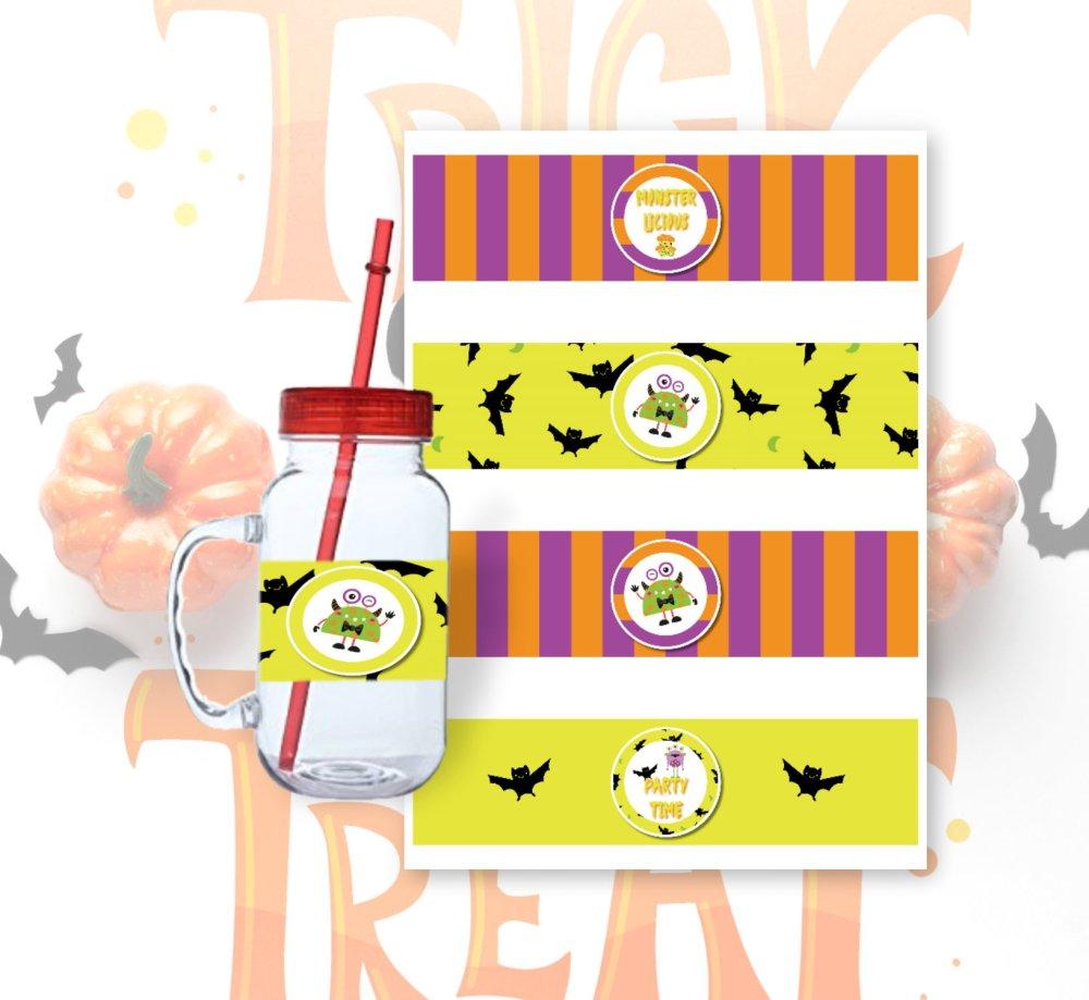Halloween DIY Monster Mash Bottle Wrappers by Kangaroo Kids Designs